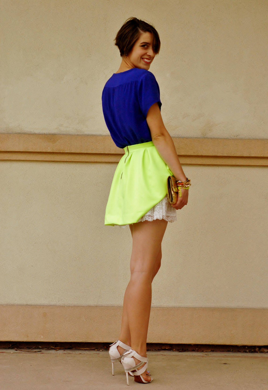Neon Skirt No Pants Tuesday